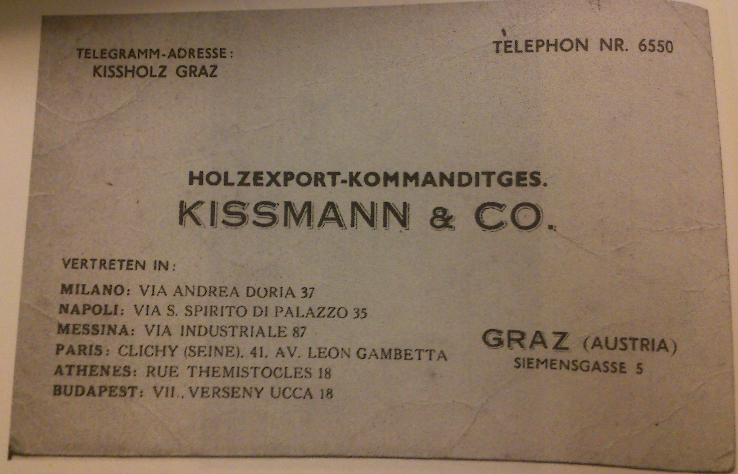 Inserat Kissmann & Co (c) Henry M. Kissman
