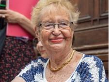 Ruth Rosowski, geb. Schkolnik bei der Stolpersteine-Verlegung am 29. Juni 2018, Foto: Alexander Danner